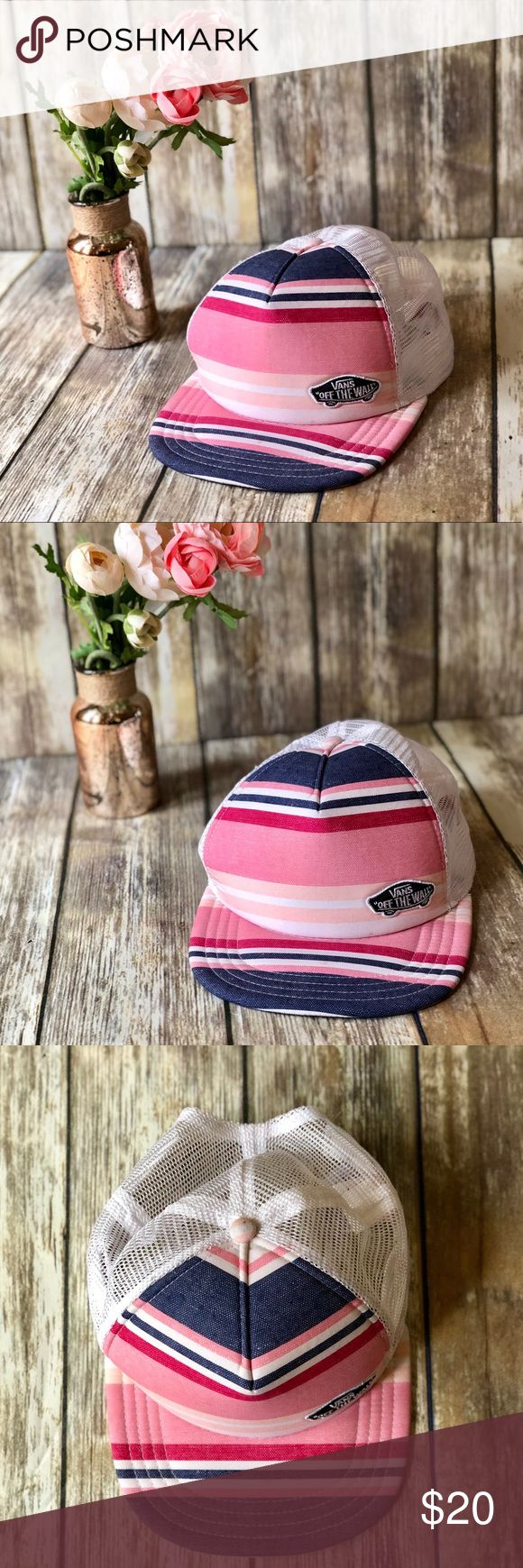 VANS Pink, Blue & White Striped Straight Bill Hat VANS Pink, Blue & White Striped Straight Bill Hat.  One size fits all. Mesh back. PLEASE NOTE: There is some make-up under the bill where the forehead goes (see last photo). Other than that that it is in great condition. Smoke free home. Vans Accessories Hats