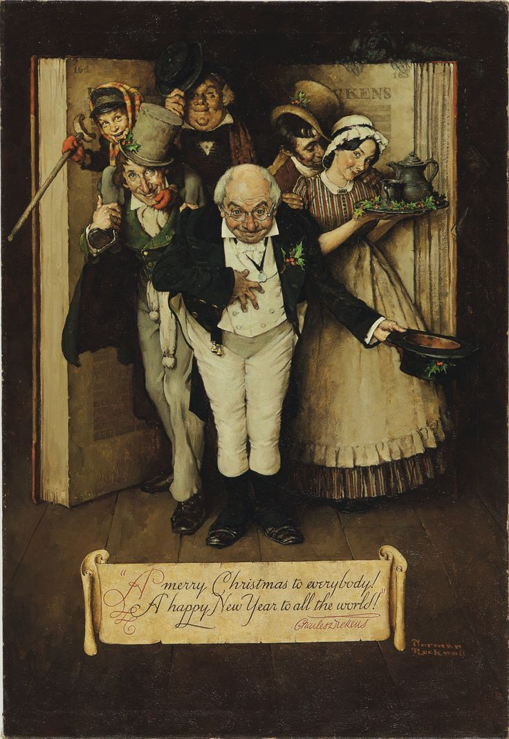"""Norman Rockwell (1894-1978) The World of Charles Dickens signed 'Norman/Rockwell' (lower right) and inscribed '""""A merry Christmas to everybody!/A happy New Year to all the world!""""/Charles Dickens'. Painted in 1937."""