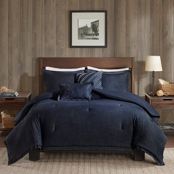 Woolrich Perry Full Oversized Denim Comforter Set In Blue Olliix