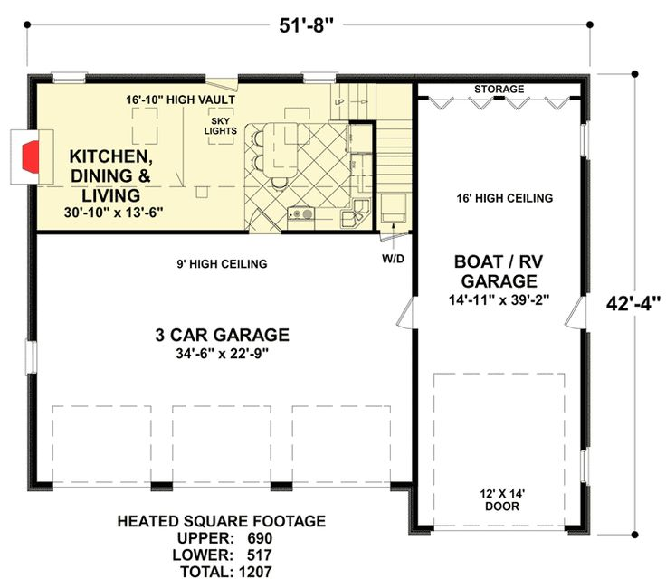 Plan 20132ga garage apartment with rv boat bay house 3 bay garage apartment plans