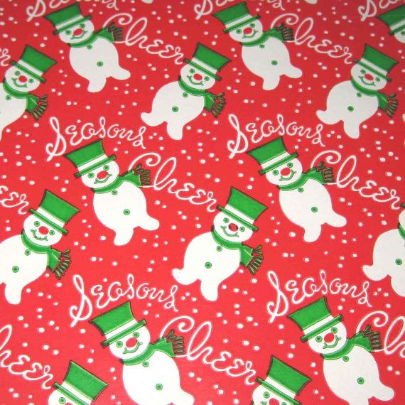 Vintage Christmas Wrapping Paper or Gift Wrap with Cute Snowmen Red Background by grandmothersattic