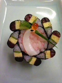 Japanese Sushi Art (Crane Head: Squid Sashimi, Cucumber, Black Sesame Seed, Ikura)