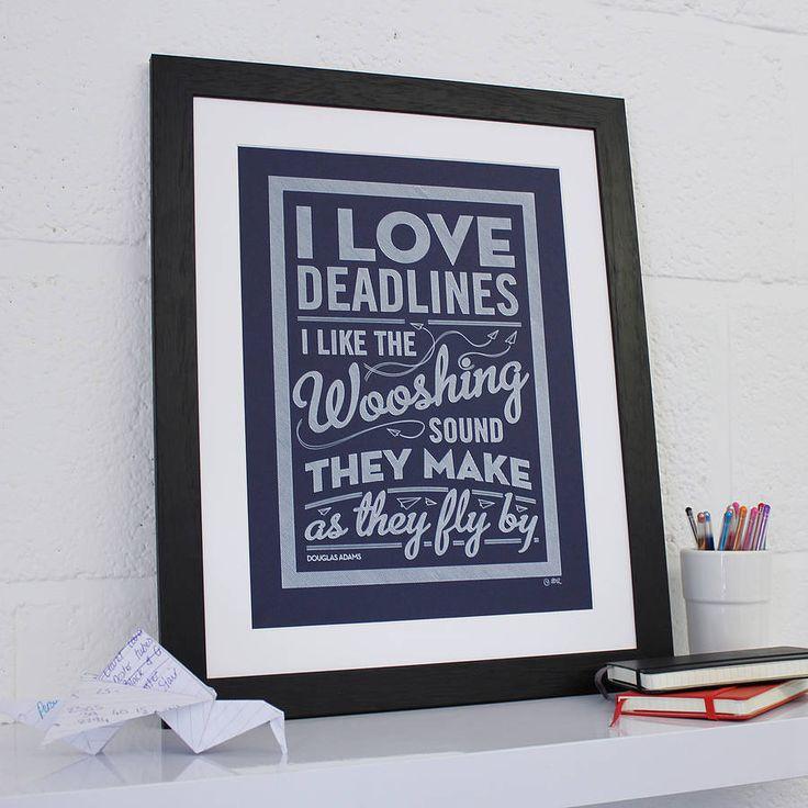 'I love Deadlines' navy framed poster
