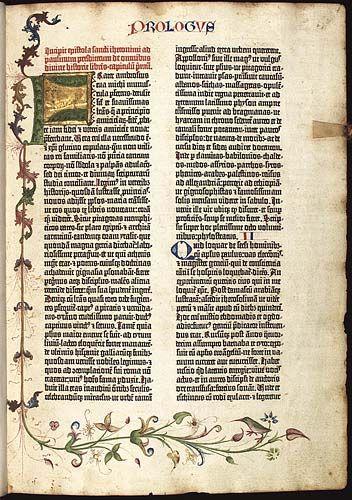 Johannes Gutenberg, Tipografia Página de Bíblia de 42 linhas, feita através de impressão por meio industrial.
