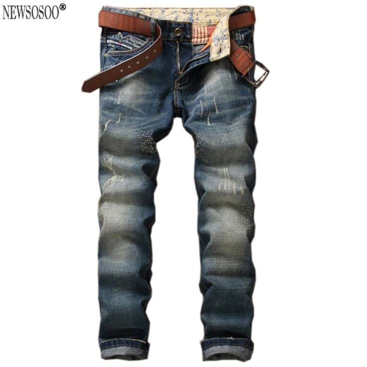 Newsosoo Brand men's straight slim fit jeans Pants high quality fashion retro Blue Pantacourt Homme Marque Jeans MJ42 #Affiliate