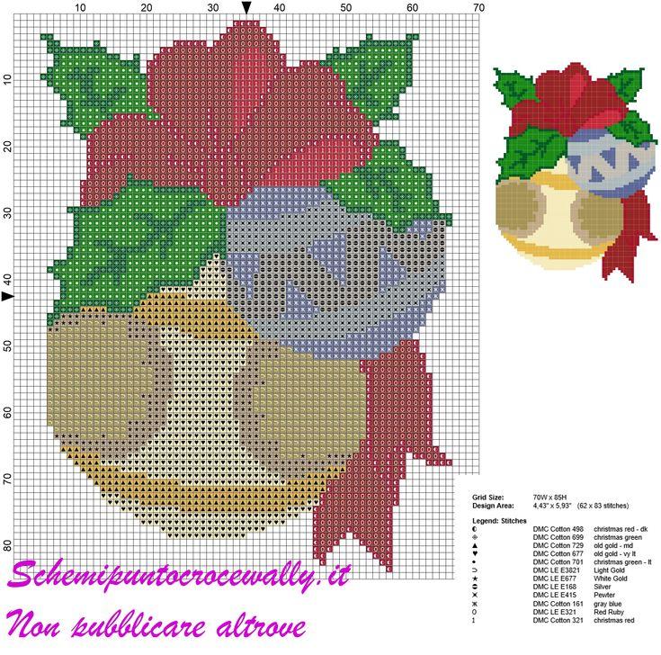 schema punto croce natalizio con sfere per albero di natale
