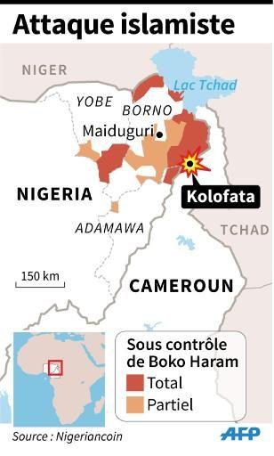 """Carte localisant l'attaque de Boko Haram à Kolofata, au Cameroun.  """"Lundi 12 janvier 2014, d'intenses combats ont éclaté autour d'un camp militaire à Kolofata, à une dizaine de kilomètres de la frontière, opposant soldats camerounais à des centaines d'islamistes venus du Nigeria voisin"""", rapporte Lepoint.fr. Selon le gouvernement camerounais, '143 terroristes' et un soldat ont été tués tandis qu'un important arsenal de guerre a été saisi. Il s'agit de la première attaque d'envergure menée…"""