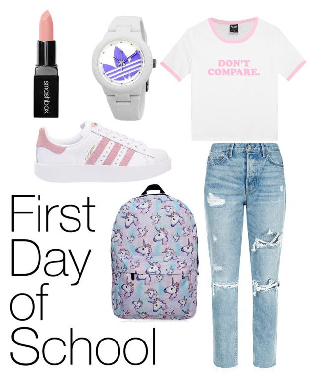 first day of school by chiara30stm on Polyvore featuring polyvore fashion style GRLFRND adidas Originals adidas Smashbox clothing
