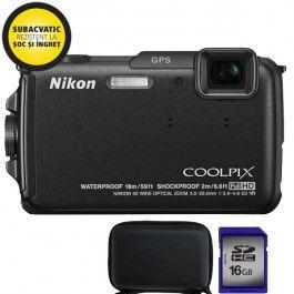 Camera foto digitala subacvatica NIKON AW110, 16 Mp, 5x, 3 inch, negru + geanta + card de memorie SDHC 16GB