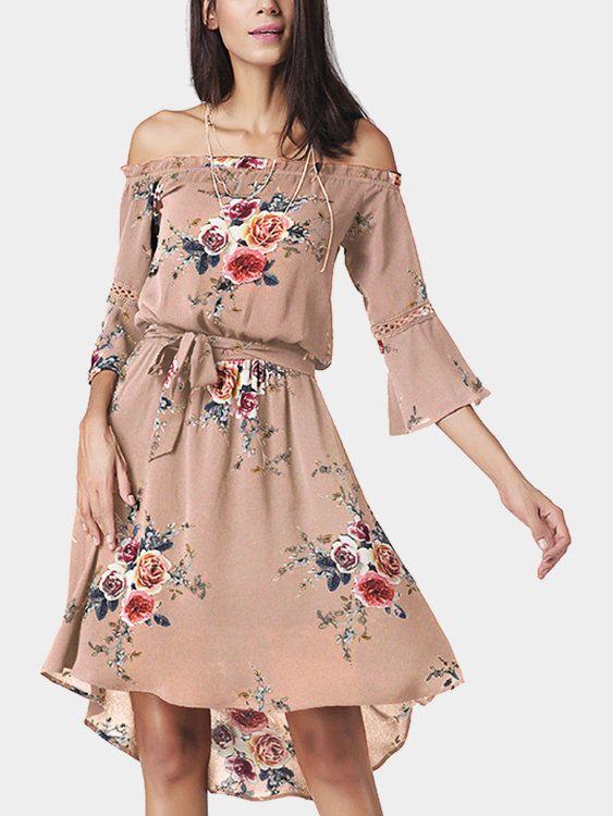 Work this seriously standout midi dress this season. It is adorned with midi length, half flared sleeves, floral print pattern,irregular hem and self-tie waist. We love it with high heels.