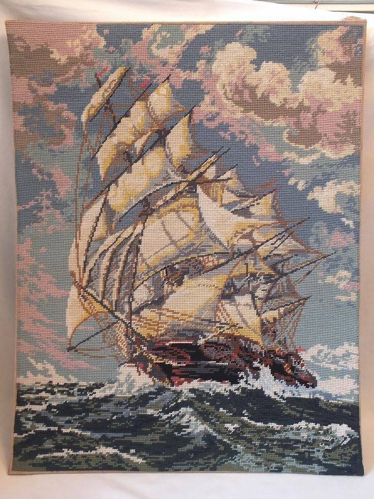 Vintage Completed Ship Galleon Embroidery Tapestry
