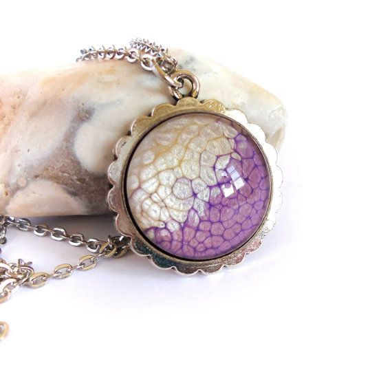 Purple vanilla necklace, handpainted pendant, glass cabochon jewerly, handmade glass dome pendant long necklace, pebeo jewerly, unique gift
