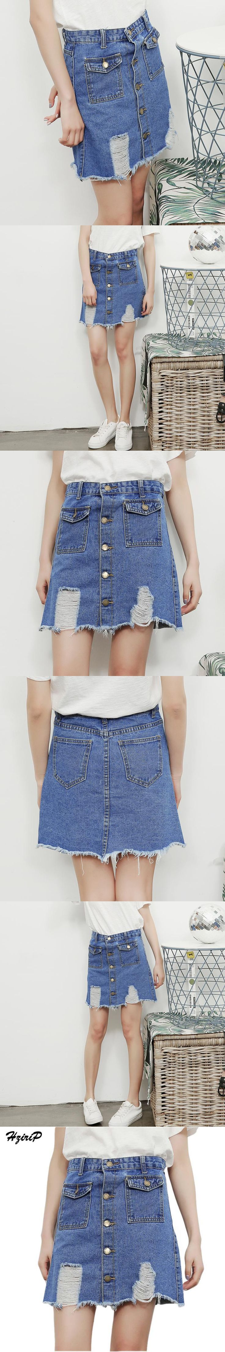 HziriP New Fashion Women High Waist Denim Skirt Ladies Ripped Jeans Skirt 2017 Spring Summer Femme Casual A-line Mini Hole Skirt