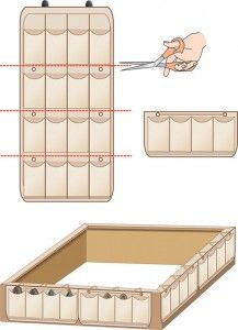 Create easy bed storage with a cut-up shoe organizer.