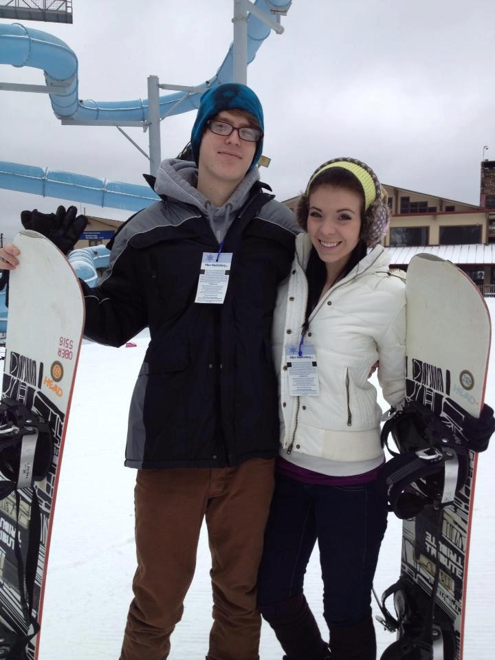 My son with his girlfriend  Snowboarding for the 1st time :)