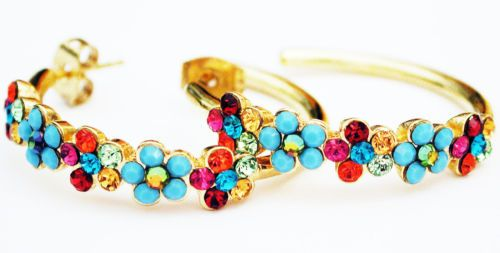 Michal-Negrin-Gold-Plated-Multicolor-Turquoise-Crystals-Beads-Hoop-Earrings