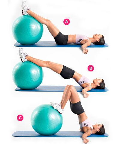 9 Ejercicios para unos Glúteos Tonificados - 3 Levantar caderas y flexionar piernas con bola suiza