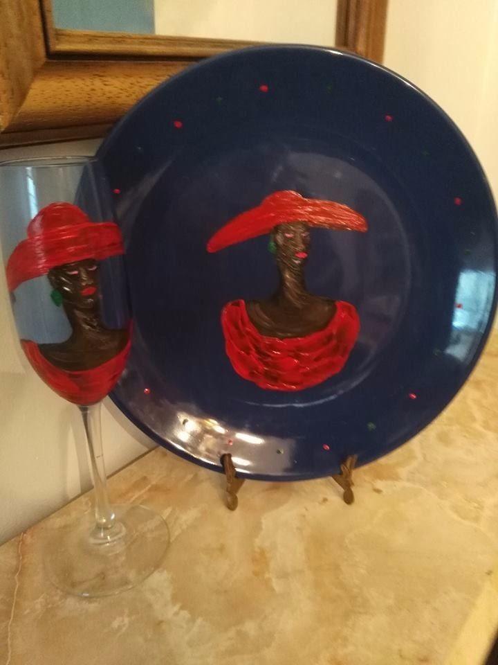 Folk artist Karen Terry ethnic hand painted ceramic plate and glass set 2 pieces #Folk