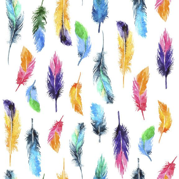 Rainbow Feathers | Removable Wallpaper | WallsNeedLove