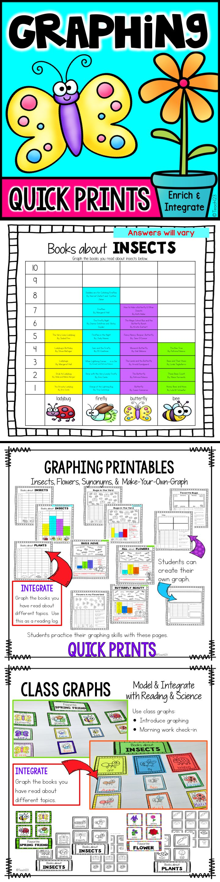 Sorting and graphing activities with bug and flower themes.  Integrate favorite bug themed book graph with your insect literacy unit or use as a reading log.  Class graph, quick print assignments, and make a graph printables.  Perfect addition to your math stations.  Simple and easy set up!  paid