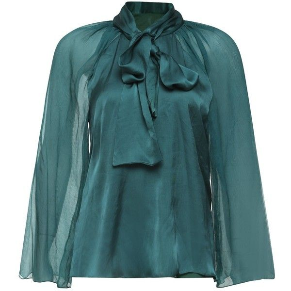 SHOP Lola by Suman B Moss green Sheer Raglan Sleeve Blouse ❤ liked on Polyvore featuring tops, blouses, green sheer top, blue green tops, see through blouse, blue top and sheer blouse