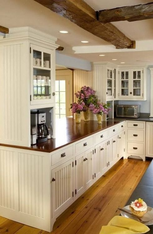 244531454741877339 Beadboard kitchen, wood countertops.  want to pain out beadboard cabinets white