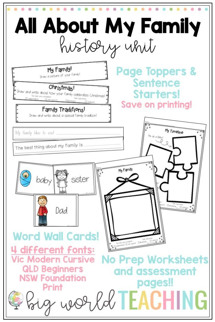 All About My Family Unit Worksheets & Family Tree Pack