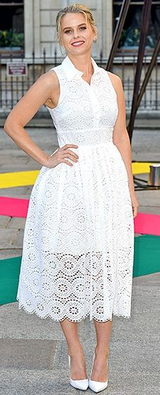 The Star Trek Into Darkness stunner,  Alice Eve, embraced the season in a white, lace Jack Wills dress, which she paired with shimmering heels and a gold clutch.