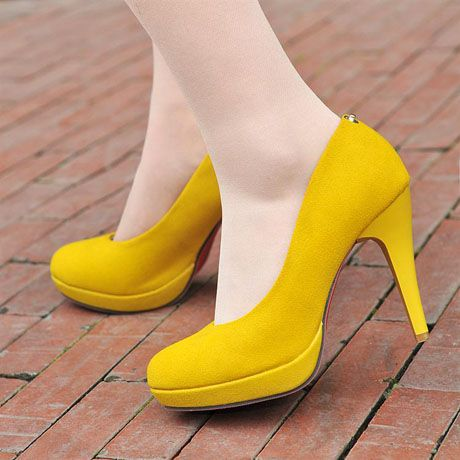 [US$36.36] - Womans Wonderful Removable Ankle Strap Lemon Yellow High Heels : ThatsPoint.com