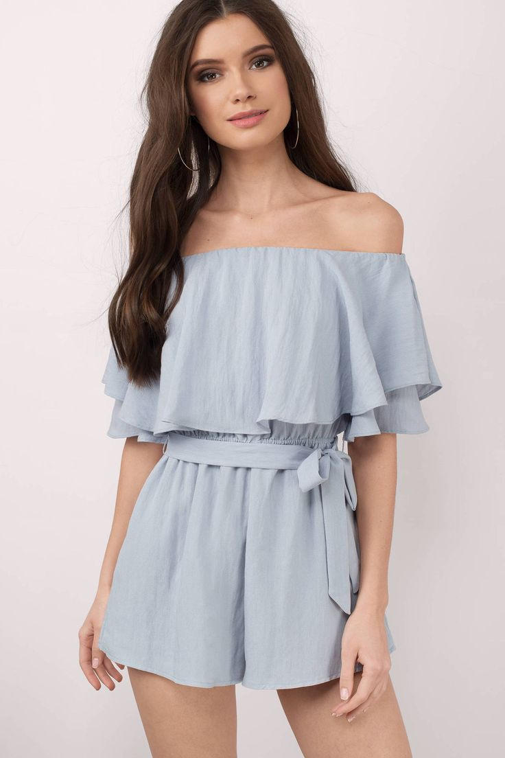 Sadie Off Shoulder Romper is an essential to your wardrobe. Featuring an off shoulder and overlay. Complete the look with wedges or heels.  - Fast & Free Shipping For Orders over $50 - Free Returns within 30 days!