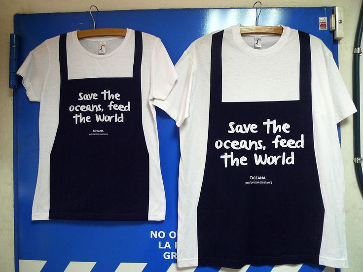 Camiseta... Delantal??? Full-print... Over the seams??? Crazy work. Para Oceana, Save the Oceans, Feed the World!