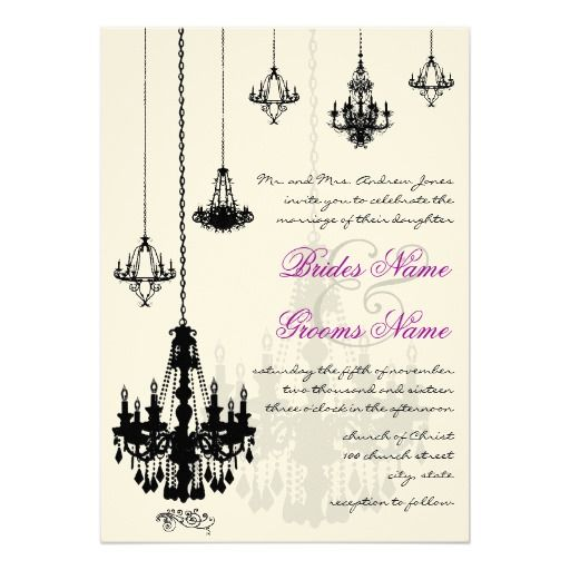 7 Black Chandeliers Wedding Invitations