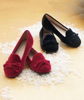 girls velvet bow shoes