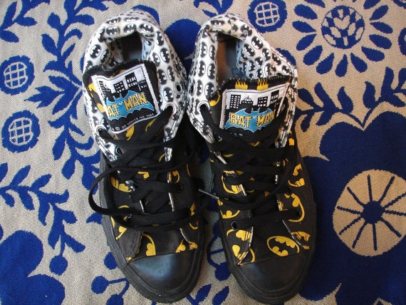 Original Batman Converse AllStars  1989 by FoxglovesandFaeries