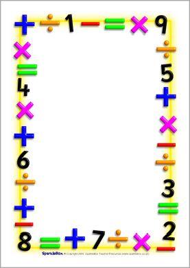 Maths Themed A4 Page Borders   Portrait  Sb1210    Sparklebox