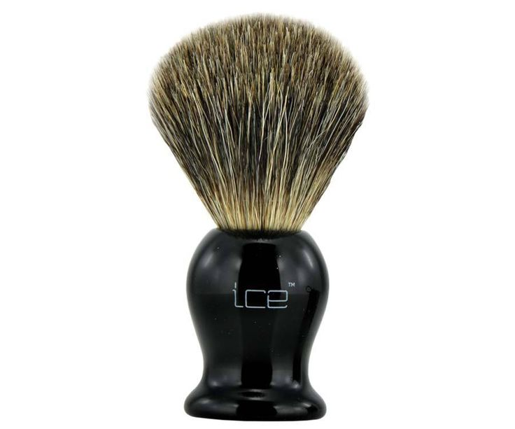The Ice Mixed Badger Brush in black. Touted for their affordability while still being able to produce a great lather. A mix between badger hair and synthetic hair, these brushes will exfoliate and lather in an instant. Available at House of Knives.