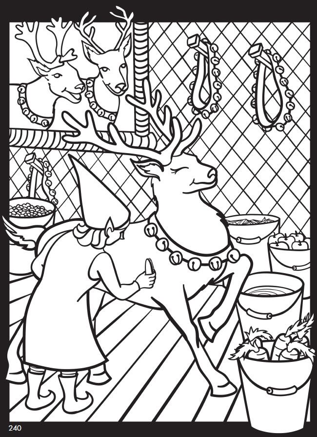 christmas elf is grooming the reindeer coloring page from the giant christmas coloring and activity book more great examples and activities provided