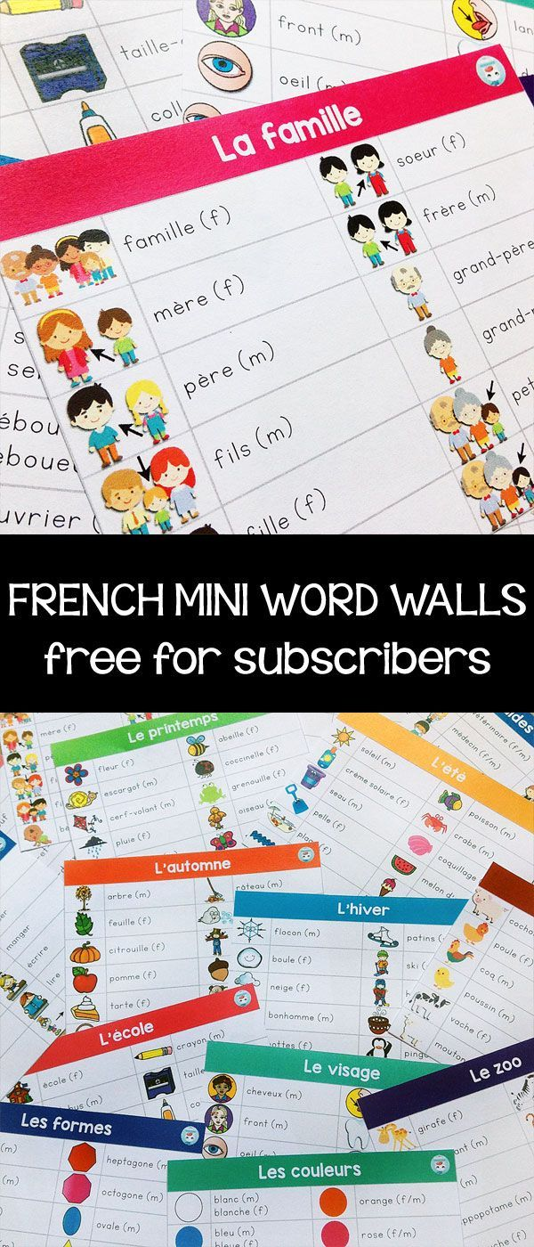 French mini word walls for writing centers: FREE for newsletter subscribers
