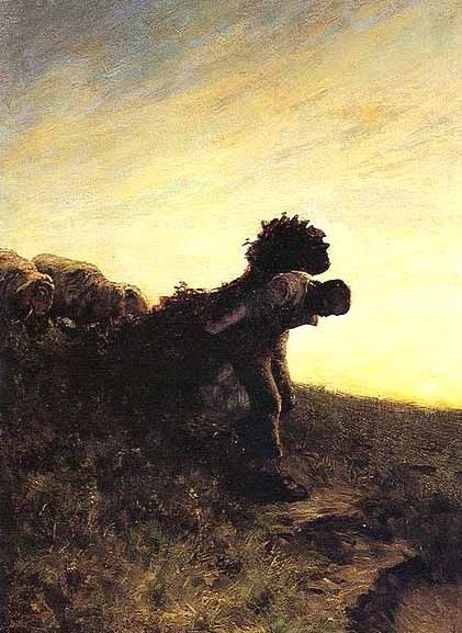"""The last effort of the day"" (117 × 82 cm (46.1 × 32.3 in) painting by Giovanni Segantini, 1884."