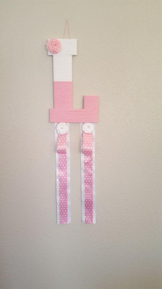 "Pink Baby Headband Holder & Bow Organizer Yarn Wrapped Wood Letter ""L""  $35  Www.AaliyahsLetters.com  https://www.etsy.com/listing/267553053/pink-baby-headband-holder-bow-organizer"