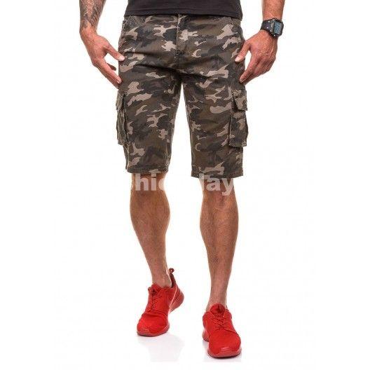 Army šortky v tmavo sivej farbe pre pánov - fashionday.eu