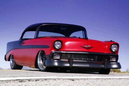 56' Chevy with matte black trim instead of chrome
