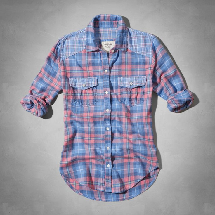 Womens Dianne Shirt - Abercrombie & Fitch pink and blue plaid flannel shirt