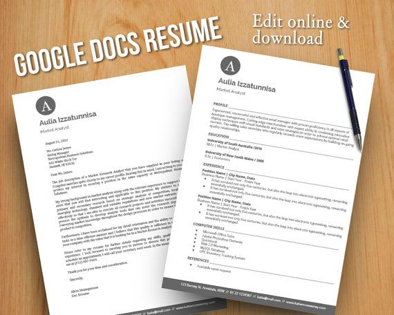 diy google docs printable resume and cover letter by digidigi - Google Doc Template Resume