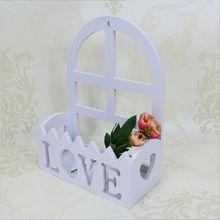 Mur en bois suspendus Amour lettres blanc clôture simulation fleur art sculpture décorative vase Panier De Fleur Pot de Fleurs à domicile décorer(China (Mainland))