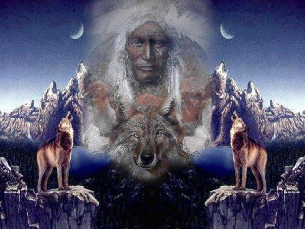 Indian and Wolves