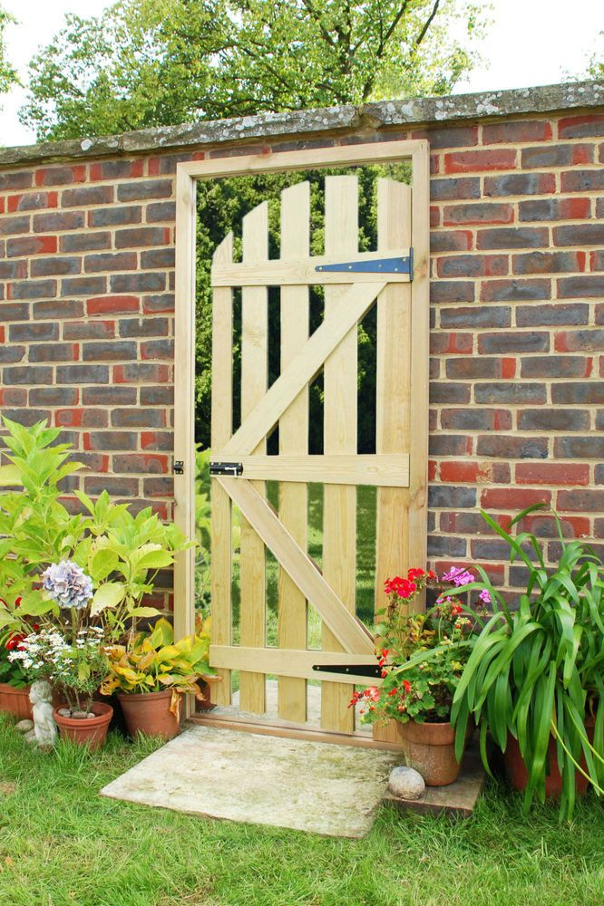 Illusion mirror garden gate wooden door way acrylic for Outdoor garden doors