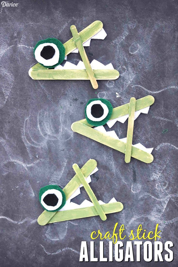 Craft Stick Alligators - Kid Craft Idea
