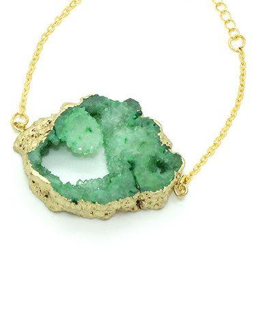 Loving this Green Drusy & Goldtone Bracelet on #zulily! #zulilyfinds