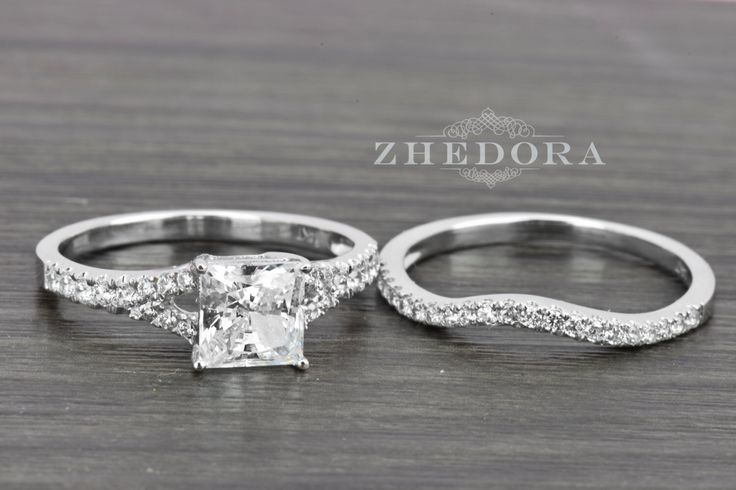 2.0 Carat Princess Cut Engagement Bridal Ring Band Set Real 14K / 18k White Gold, Bridal Set, Amorphous Lab-Created Diamonds by Zhedora on Etsy https://www.etsy.com/listing/246196483/20-carat-princess-cut-engagement-bridal